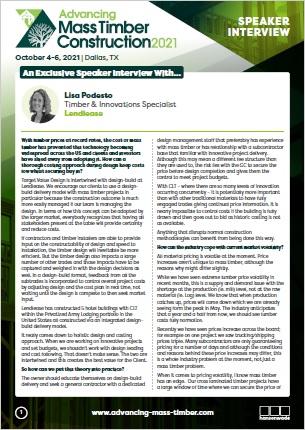 Advancing Mass Timber Construction 2021 - Lisa Podesto, Lendlease